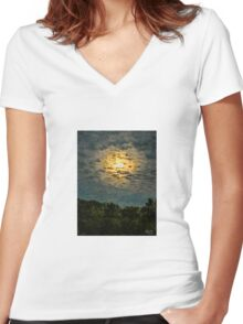 IMPRESSIONIST CLOUD-LIT NEW MOON  Women's Fitted V-Neck T-Shirt