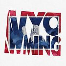 Wyoming Typographic Map Flag by A. TW