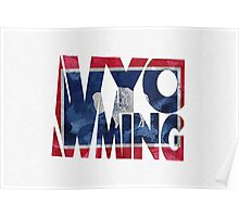 Wyoming Typographic Map Flag Poster