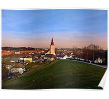 Village and church in warm sundown light II | landscape photography Poster