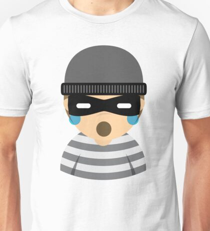 Mask Thief Emoji Teary Eyes and Sad Look Unisex T-Shirt