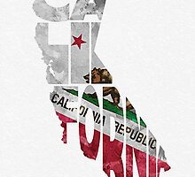 California Typographic Map Flag by A. TW