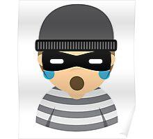 Mask Thief Emoji Teary Eyes and Sad Look Poster