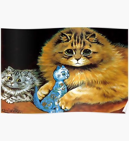 Vintage Doll Cat by Louis Wain Poster