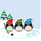 Hockey Penguins with snowflakes hats in a snowy landscape by walstraasart