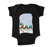 Hockey Penguins with snowflakes hats in a snowy landscape One Piece - Short Sleeve