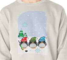 Hockey Penguins with snowflakes hats in a snowy landscape Pullover