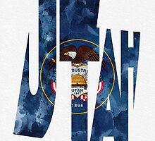 Utah Typographic Map Flag by A. TW