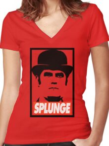 Obey Splunge (black) Women's Fitted V-Neck T-Shirt