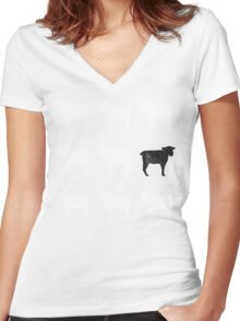 Many White Sheep: One Black Sheep Women's Fitted V-Neck T-Shirt