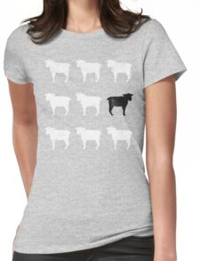 Many White Sheep: One Black Sheep Womens Fitted T-Shirt