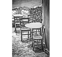 It's summertime, take your chairs and tables out in the sunshine Photographic Print