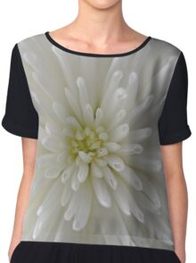 white Chrysanthemum macro Chiffon Top