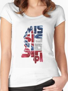 Mississippi Typographic Map Flag Women's Fitted Scoop T-Shirt