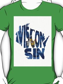 Wisconsin Typographic Map Flag T-Shirt
