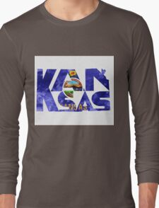 Kansas Typographic Map Flag Long Sleeve T-Shirt