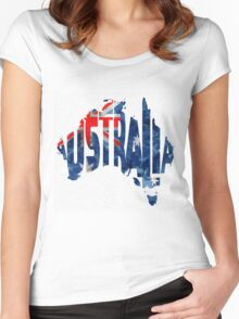Australia Typographic World Map Women's Fitted Scoop T-Shirt