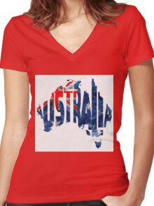 Australia Typographic World Map Women's Fitted V-Neck T-Shirt