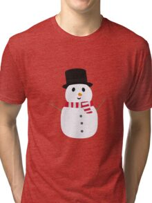 Happy Snowman with winterscarf Tri-blend T-Shirt