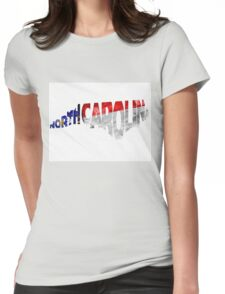 North Carolina Typographic Map Flag Womens Fitted T-Shirt