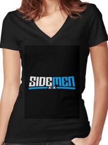 Blue & Black Sidemen Logo Women's Fitted V-Neck T-Shirt