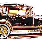 Old car lithograph by Mark Malinowski