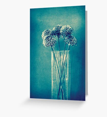 Monochrome flowers and vase Greeting Card