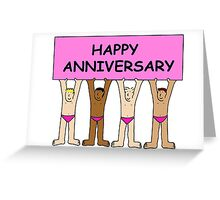 Happy gay anniversary men in pink underpants. Greeting Card