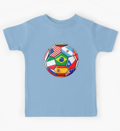 Brazil 2014 - soccer with various flags Kids Tee