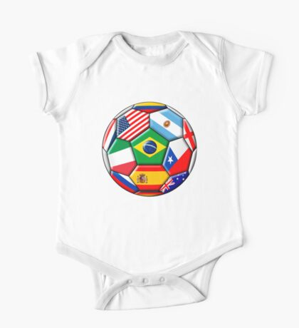 Brazil 2014 - soccer with various flags One Piece - Short Sleeve