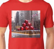 A Christmas Card from New York City - Giant Red Balls Pyramid and Radio City Music Hall  Unisex T-Shirt