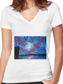 Galaxy Landscape Women's Fitted V-Neck T-Shirt