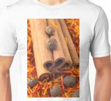 Macro view of the cinnamone, peppercorn and saffron Unisex T-Shirt