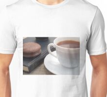 White cup of hot cocoa and a chocolate biscuit Unisex T-Shirt