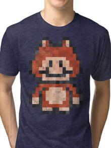 Super Mario Raccoon Vintage Pixels Tri-blend T-Shirt