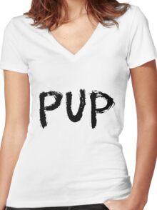 PUP Graffiti Logo Women's Fitted V-Neck T-Shirt