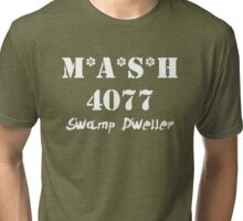 MASH 4077 Swamp Dweller - White Tri-blend T-Shirt