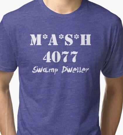 MASH 4077 Swamp Dweller - White Tri-blend T-Shirt