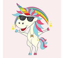 Crazy Unicorn - Cool Rainbow Photographic Print
