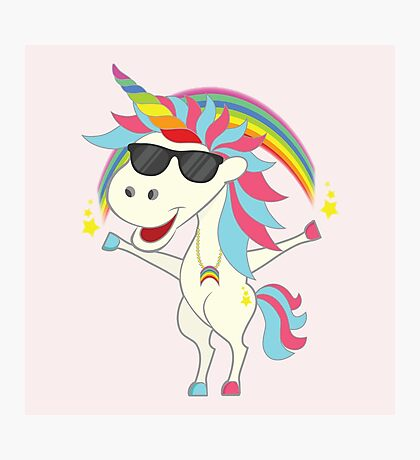 Crazy Unicorn - Cool Rainbow Photographic Print
