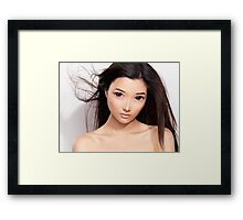 Young asian woman anime style beauty portrait art photo print Framed Print