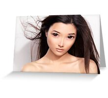 Young asian woman anime style beauty portrait art photo print Greeting Card