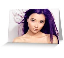 Young asian woman anime style beauty portrait with purple hair art photo print Greeting Card