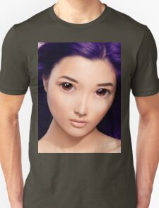 Young asian woman anime style beauty portrait with purple hair art photo print Unisex T-Shirt