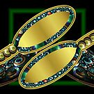 Golden Hairbrushes with Fractal Jeweled Borders by barrowda