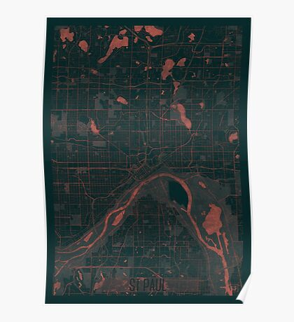 St Paul Map Red Poster