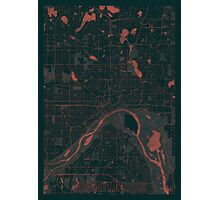 St Paul Map Red Photographic Print