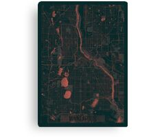 Minneapolis Map Red Canvas Print