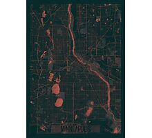 Minneapolis Map Red Photographic Print