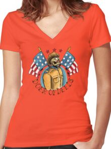 Teddy Roosevelt Tattoo Flash Women's Fitted V-Neck T-Shirt